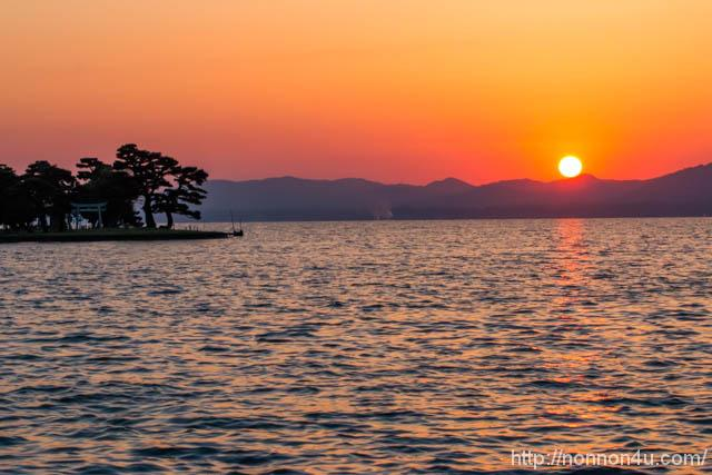 宍道湖の夕日を見て来ました